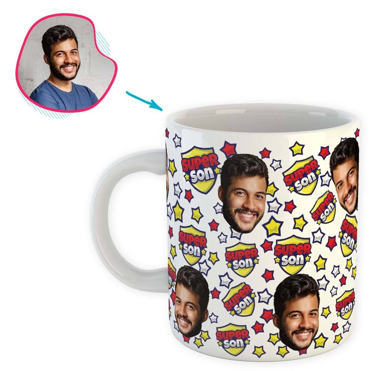 white Super Son mug personalized with photo of face printed on it