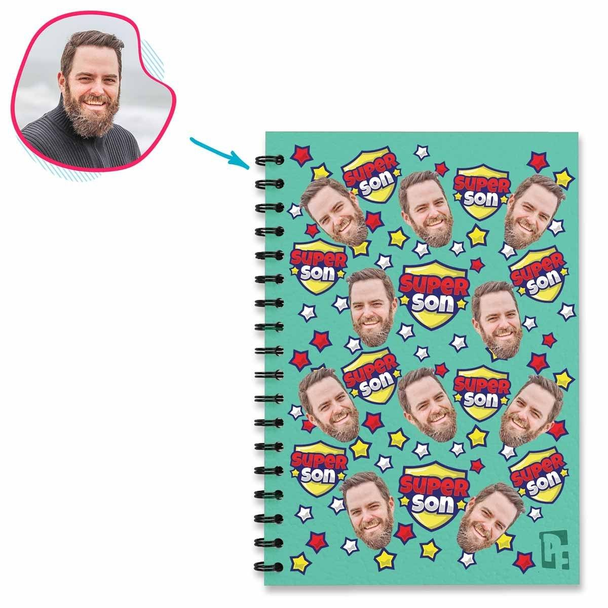 mint Super Son Notebook personalized with photo of face printed on them