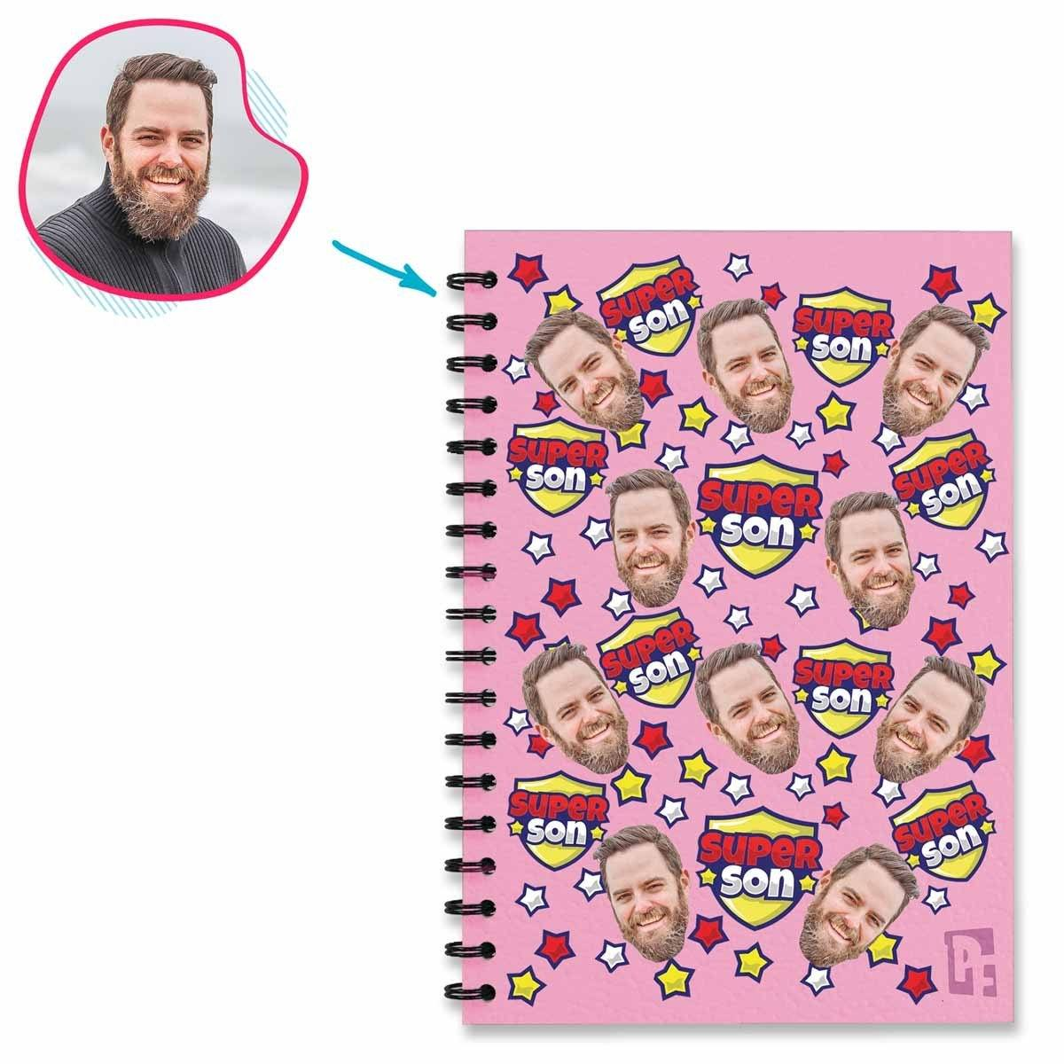 pink Super Son Notebook personalized with photo of face printed on them