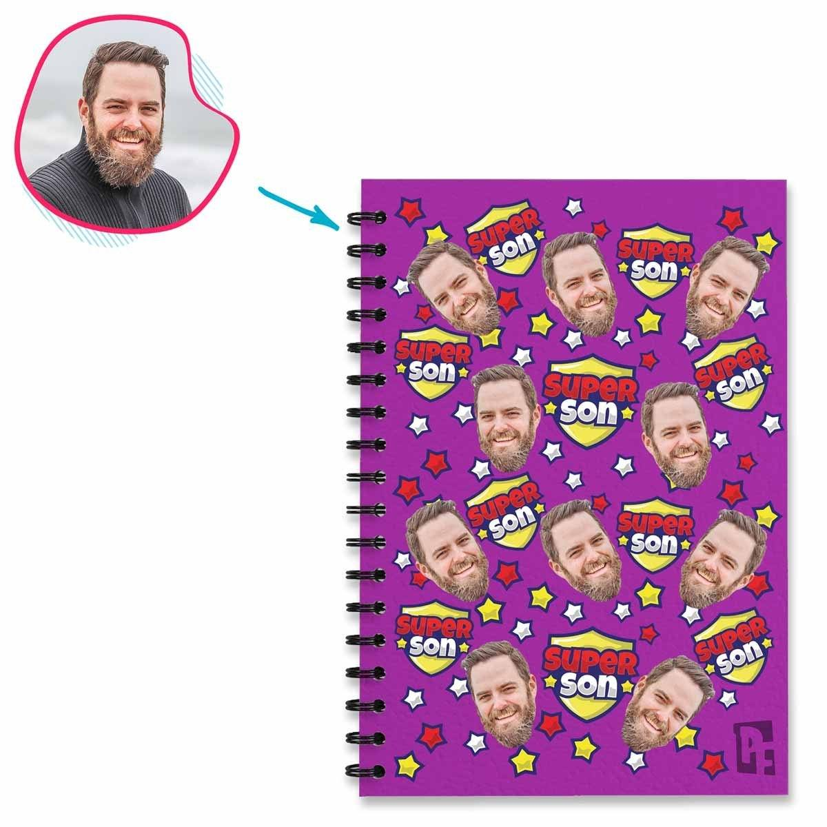 purple Super Son Notebook personalized with photo of face printed on them