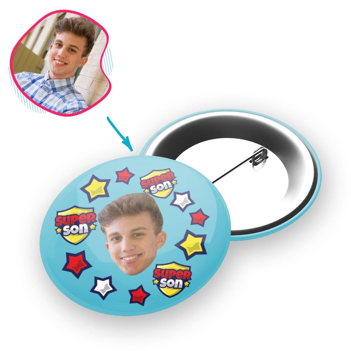 blue Super Son pin personalized with photo of face printed on it