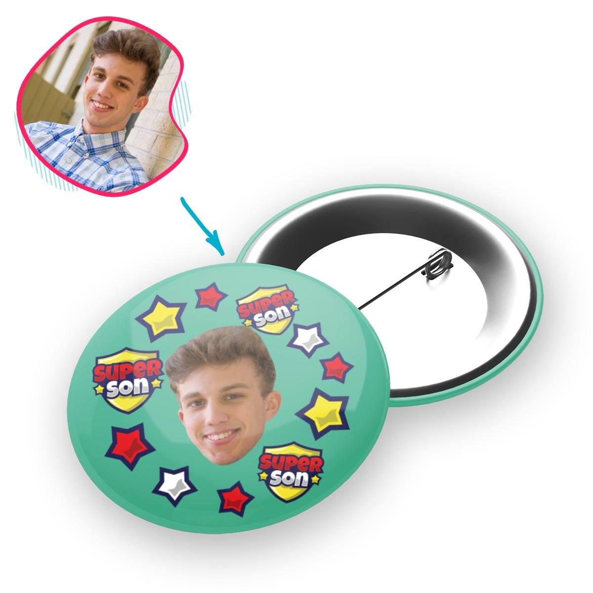 mint Super Son pin personalized with photo of face printed on it