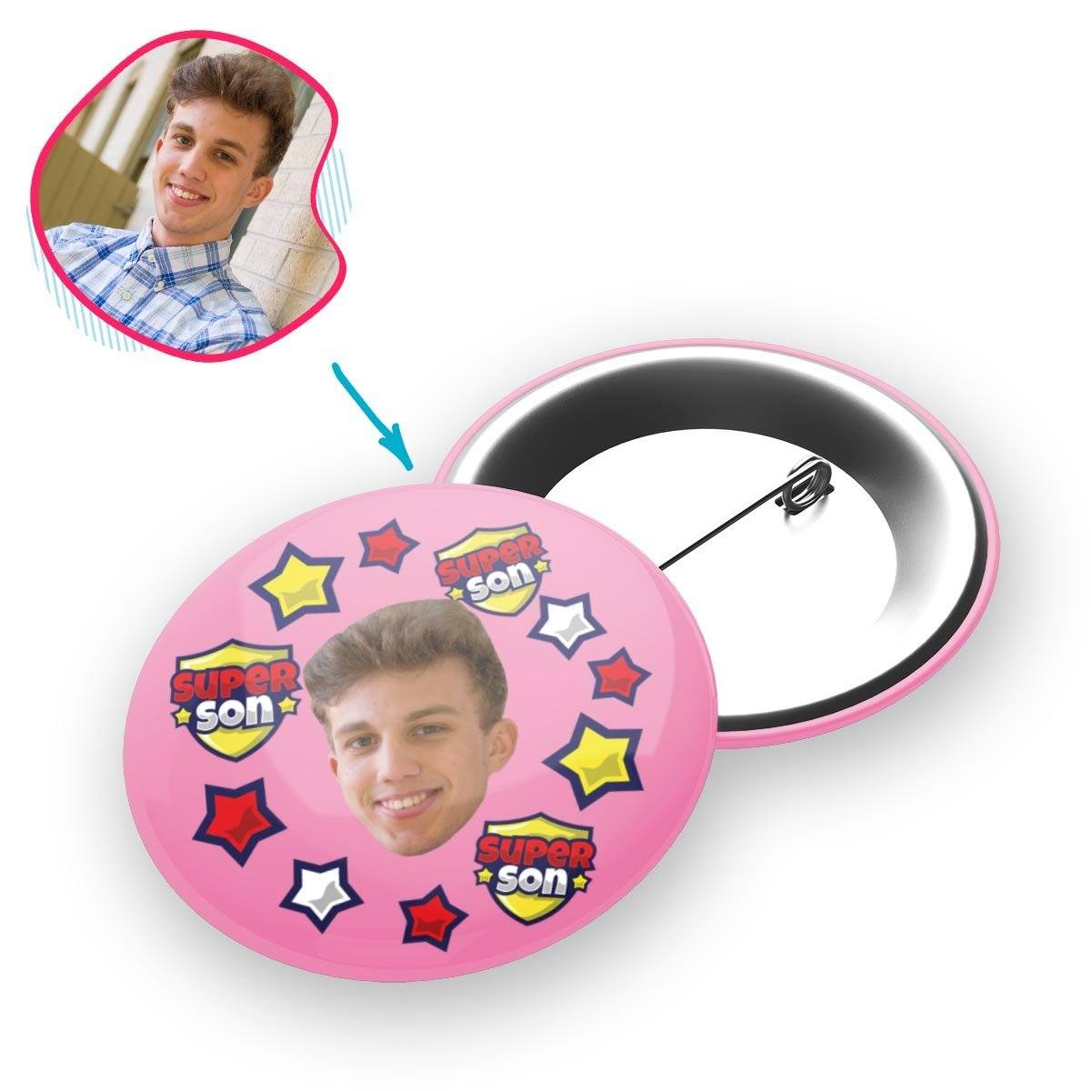 pink Super Son pin personalized with photo of face printed on it
