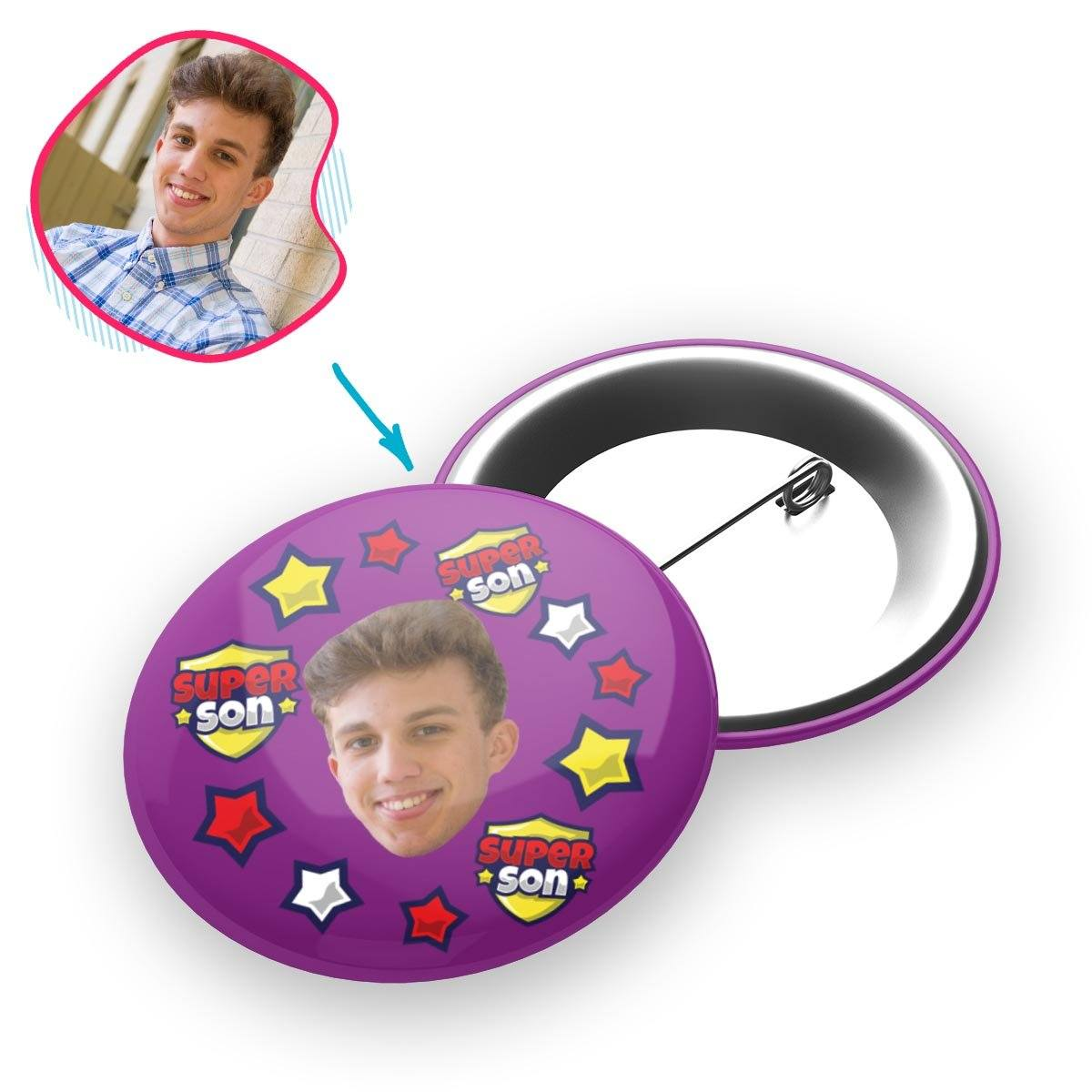 purple Super Son pin personalized with photo of face printed on it