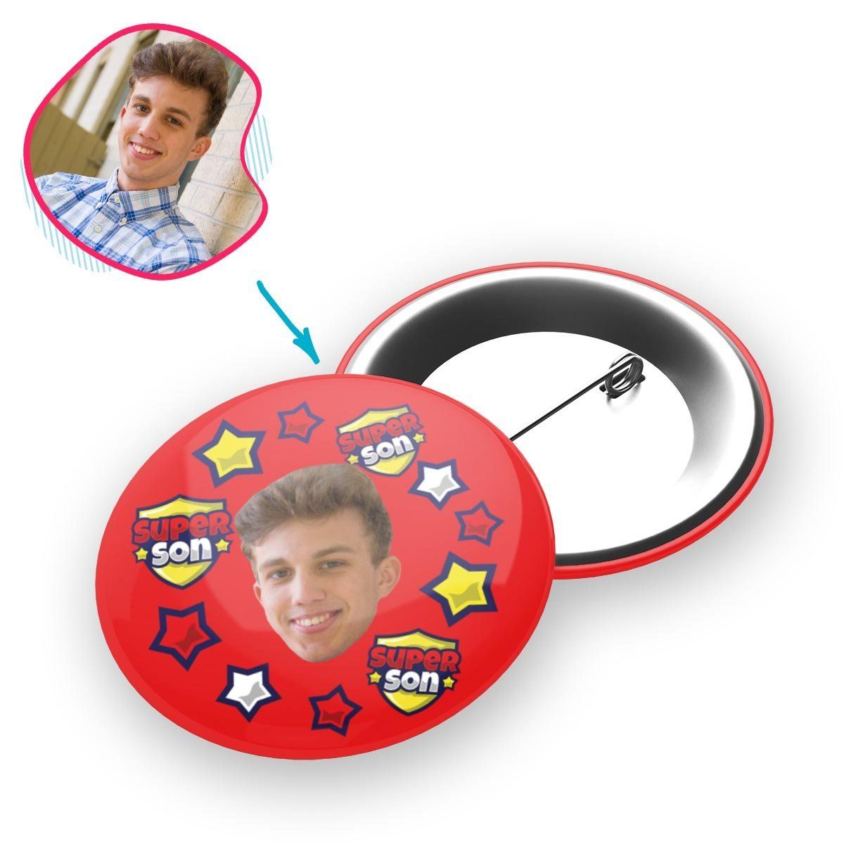 red Super Son pin personalized with photo of face printed on it