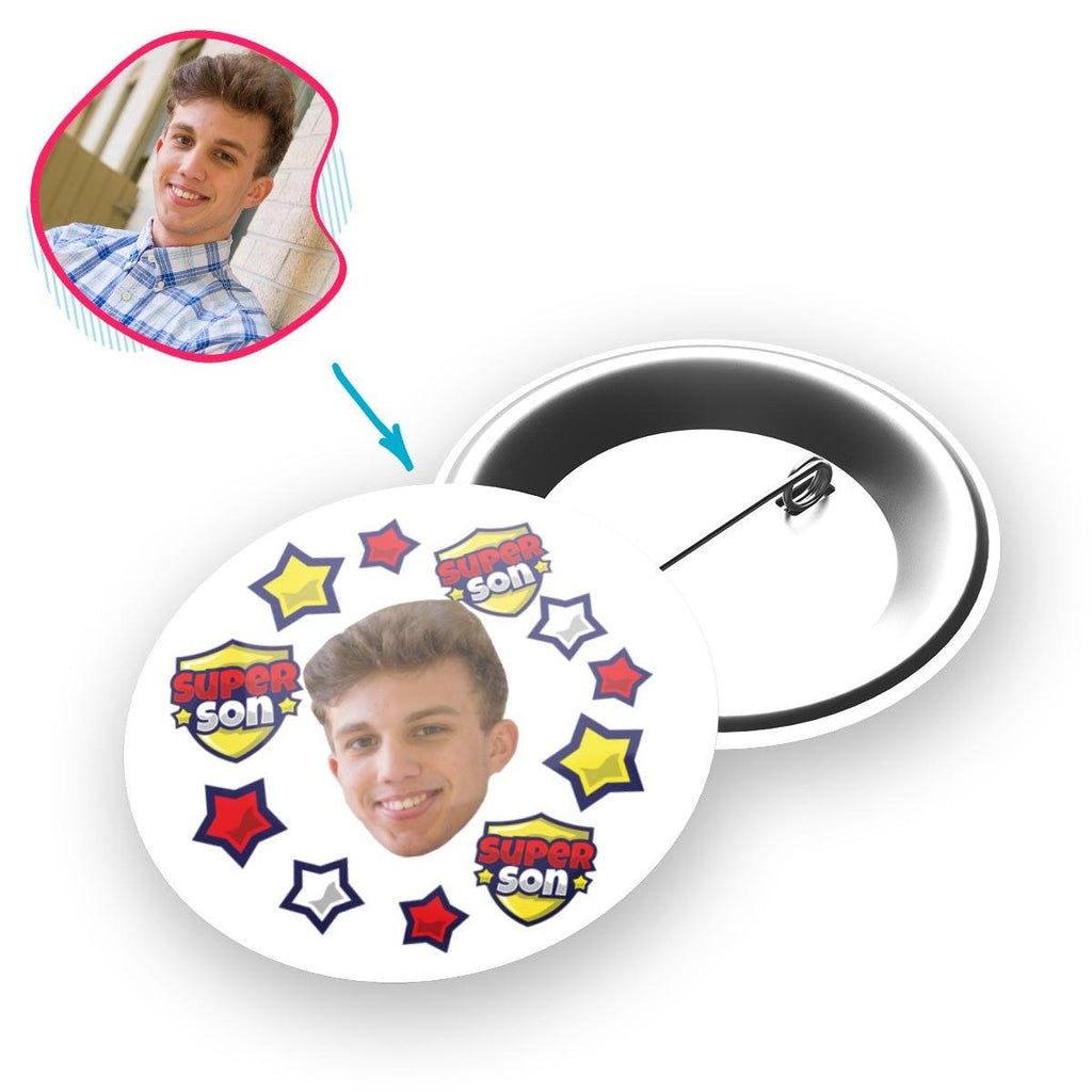 white Super Son pin personalized with photo of face printed on it