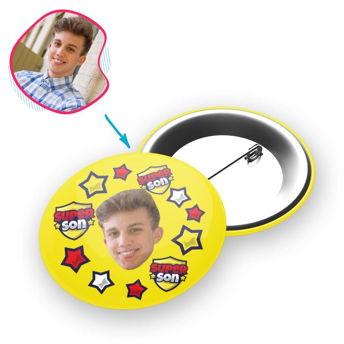 yellow Super Son pin personalized with photo of face printed on it