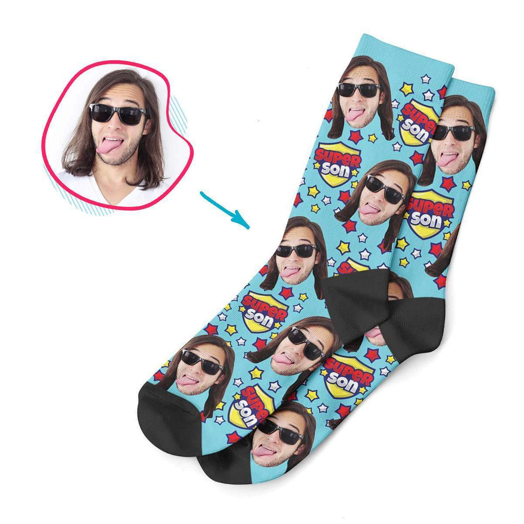 blue Super Son socks personalized with photo of face printed on them