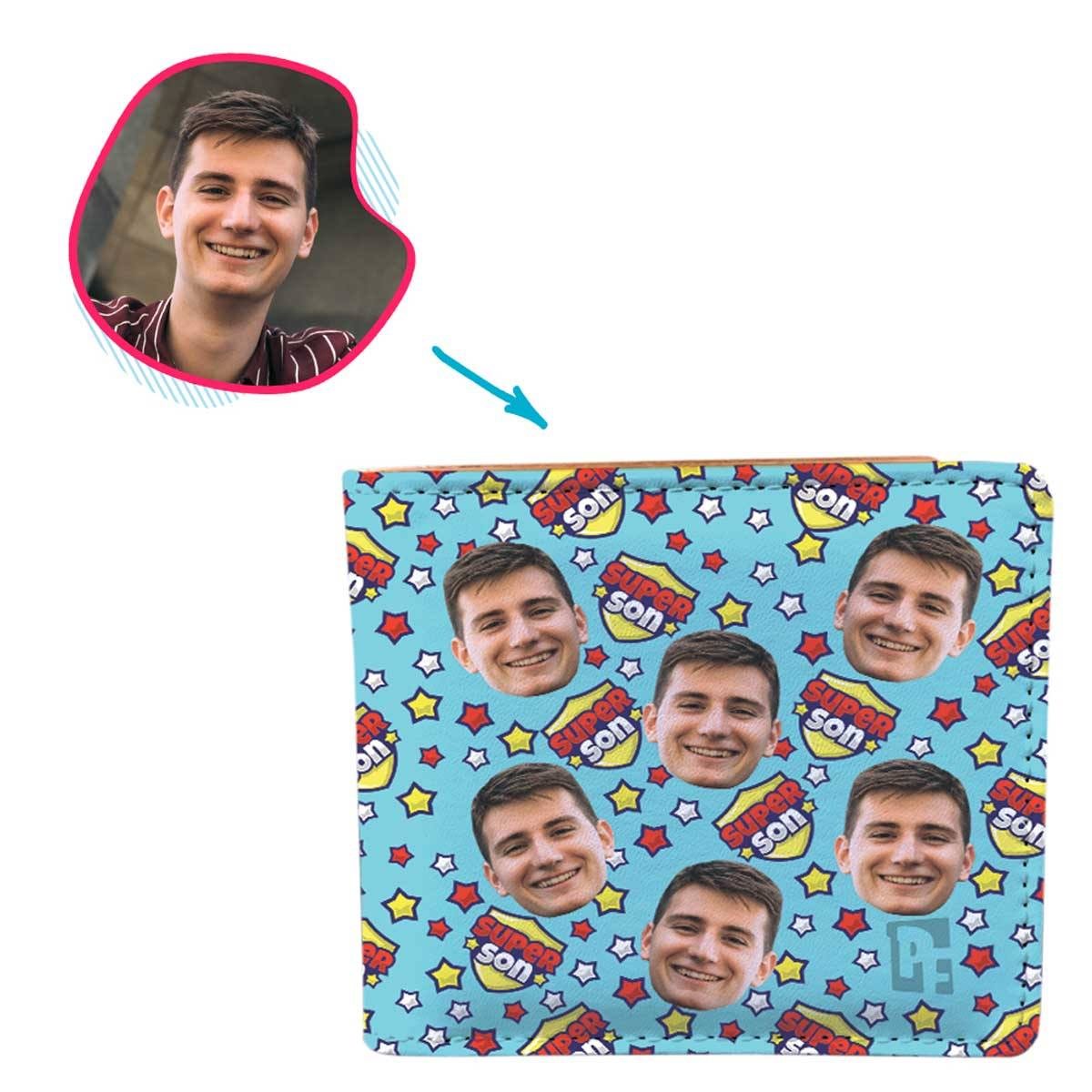 blue Super Son wallet personalized with photo of face printed on it