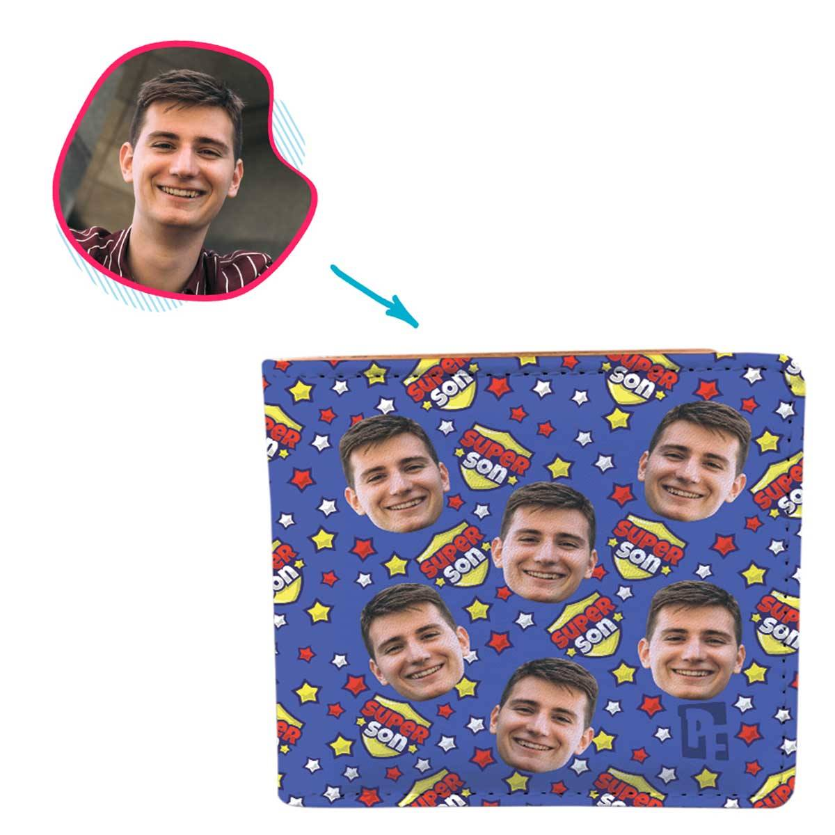 darkblue Super Son wallet personalized with photo of face printed on it