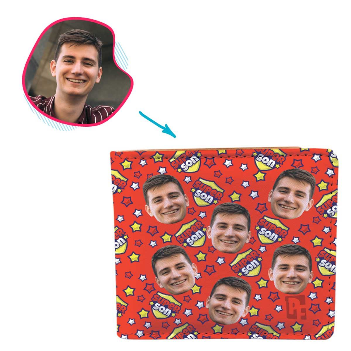 red Super Son wallet personalized with photo of face printed on it