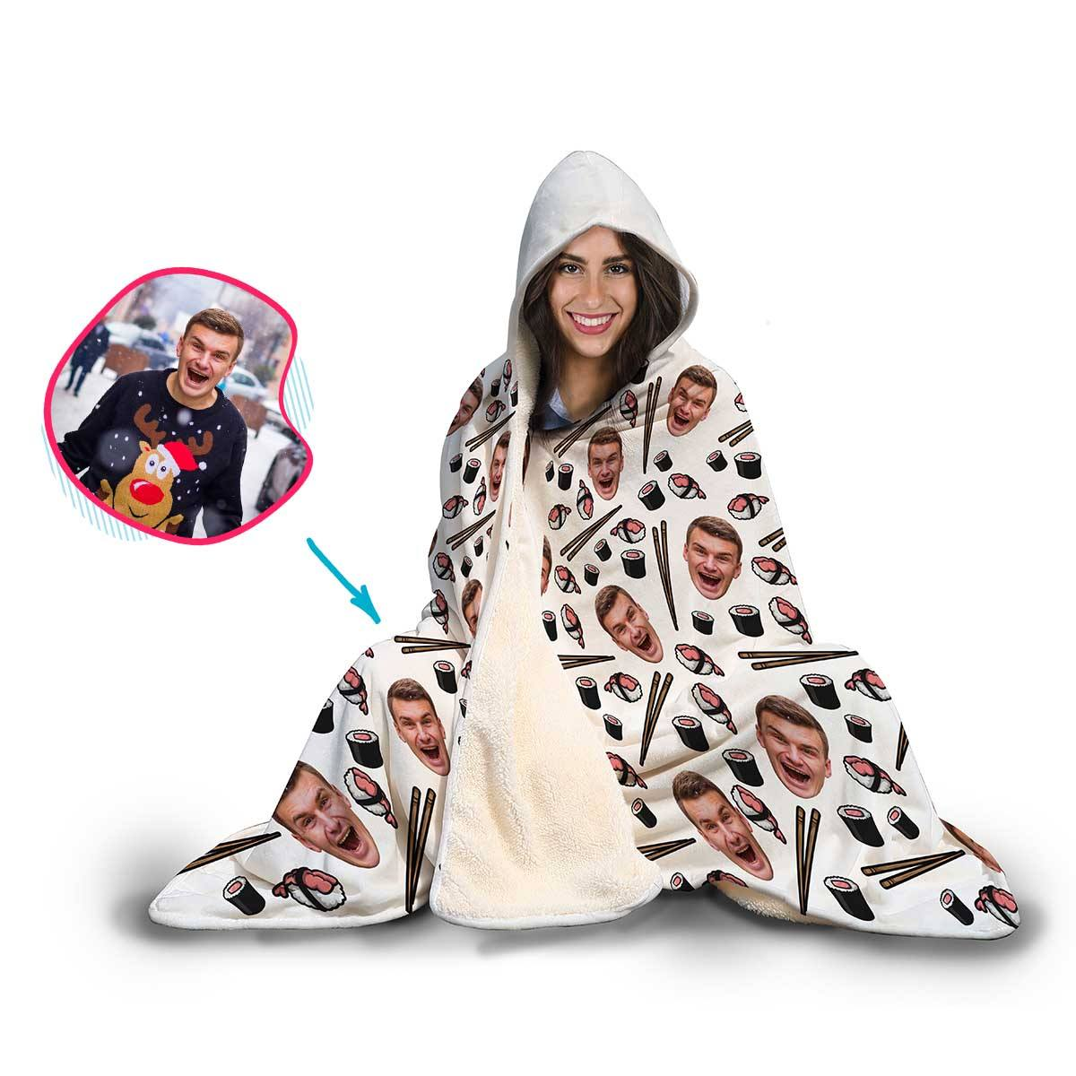 Sushi Personalized Hooded Blanket