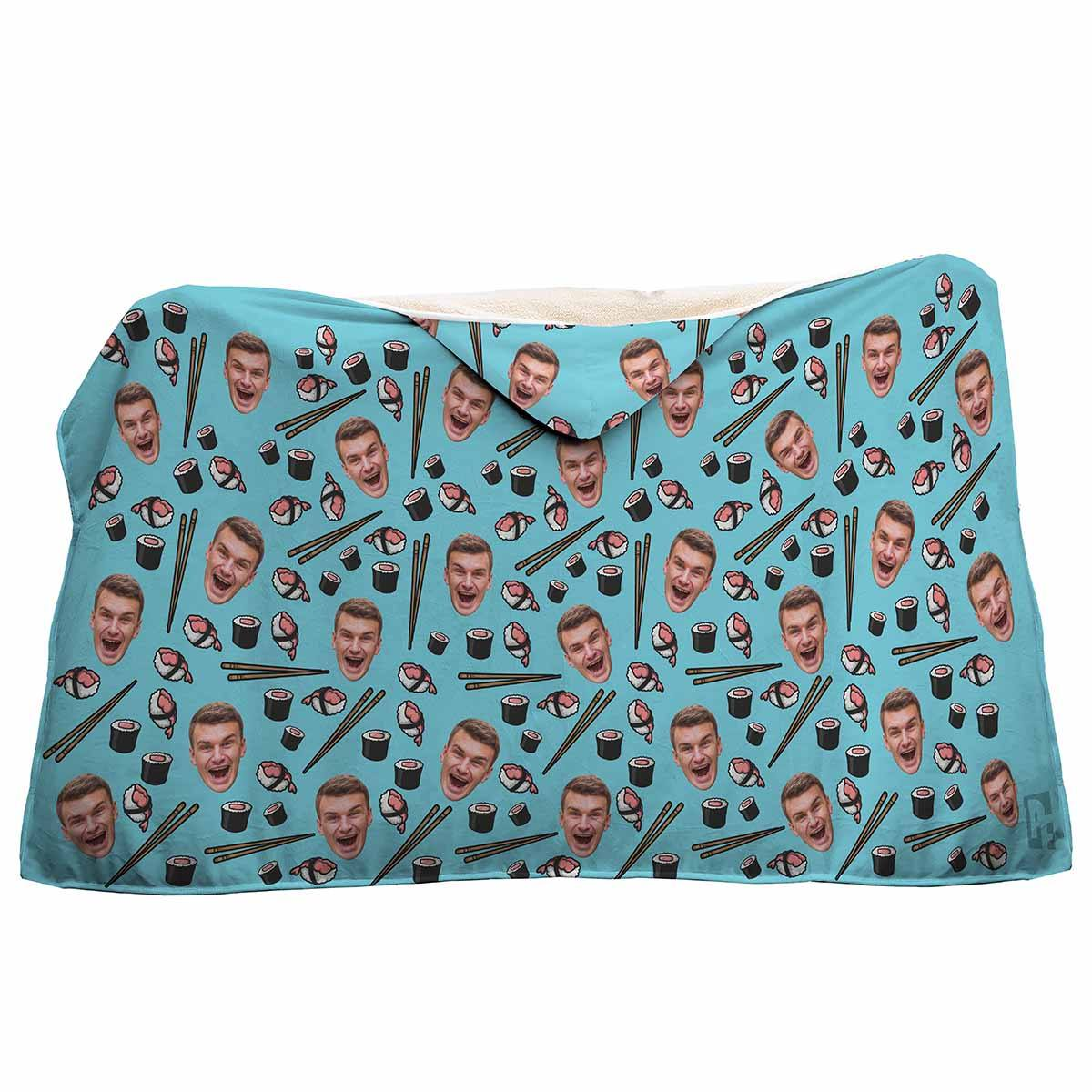 blue Sushi hooded blanket personalized with photo of face printed on it