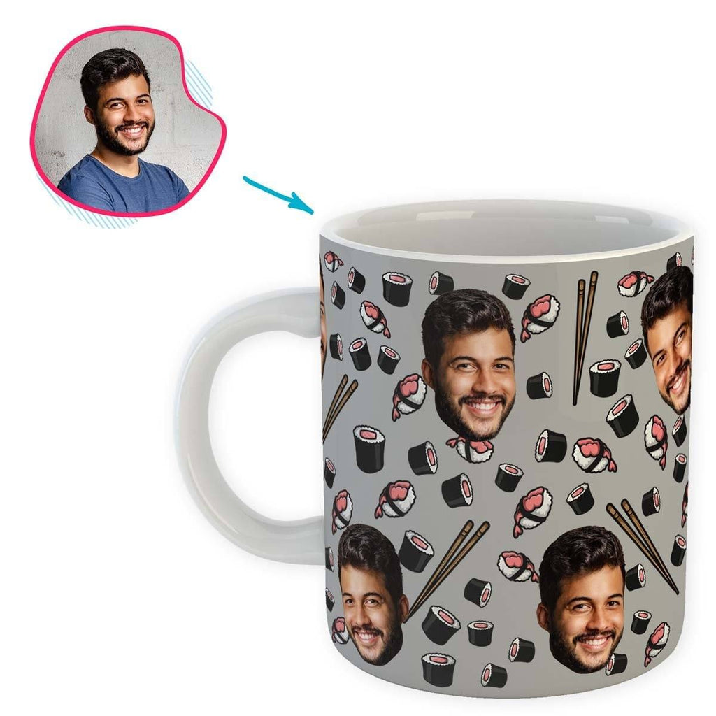 grey Sushi mug personalized with photo of face printed on it
