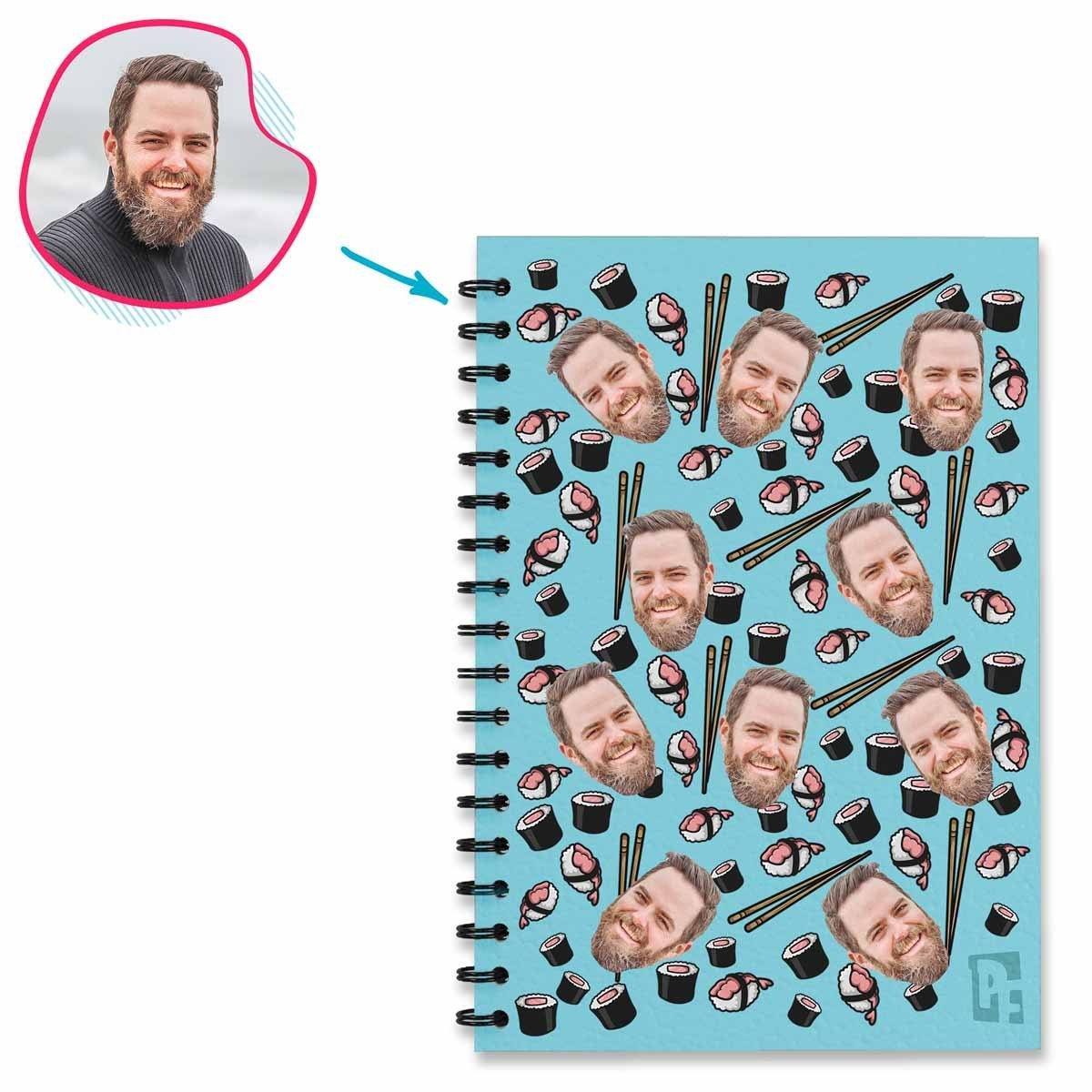 blue Sushi Notebook personalized with photo of face printed on them