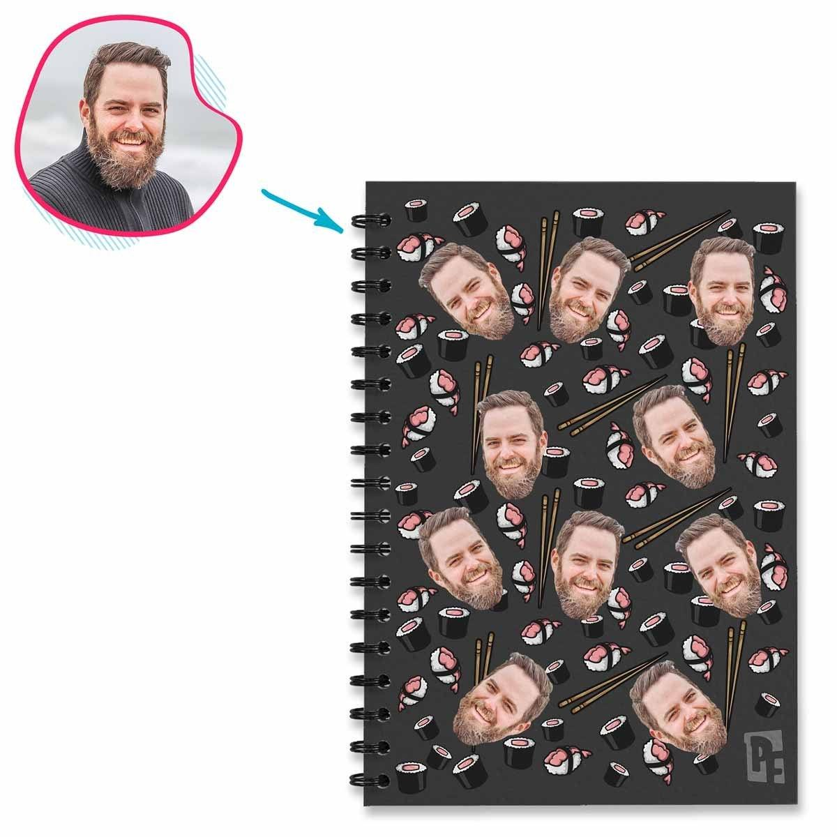 dark Sushi Notebook personalized with photo of face printed on them