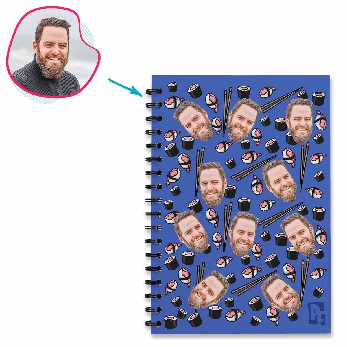 darkblue Sushi Notebook personalized with photo of face printed on them