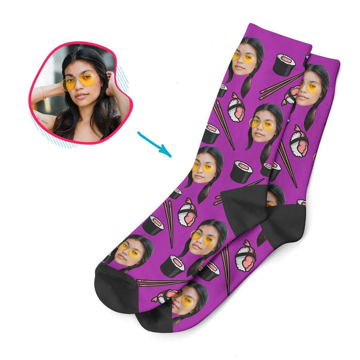 purple Sushi socks personalized with photo of face printed on them