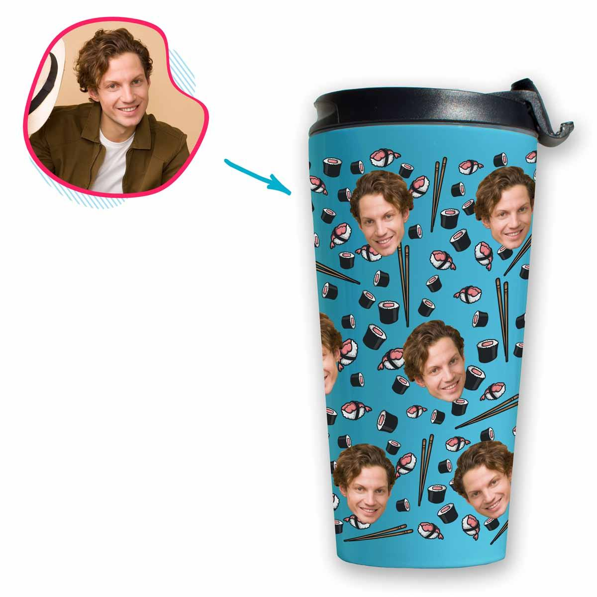 blue Sushi travel mug personalized with photo of face printed on it