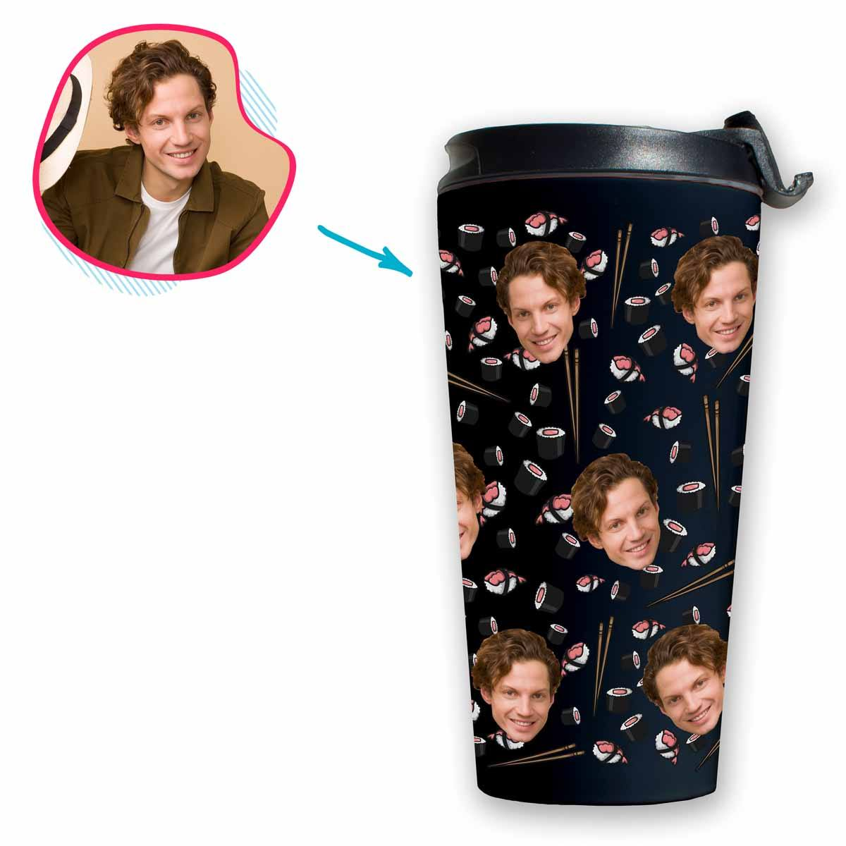 dark Sushi travel mug personalized with photo of face printed on it