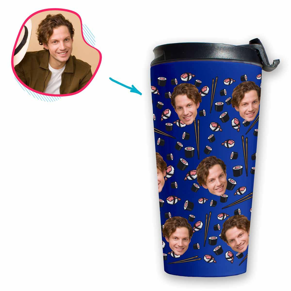 darkblue Sushi travel mug personalized with photo of face printed on it