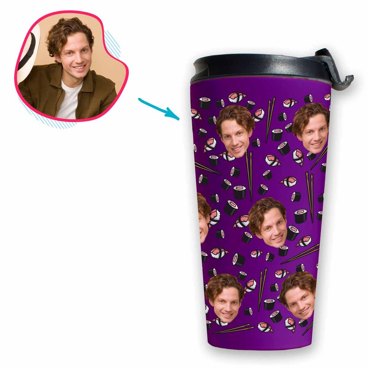 purple Sushi travel mug personalized with photo of face printed on it