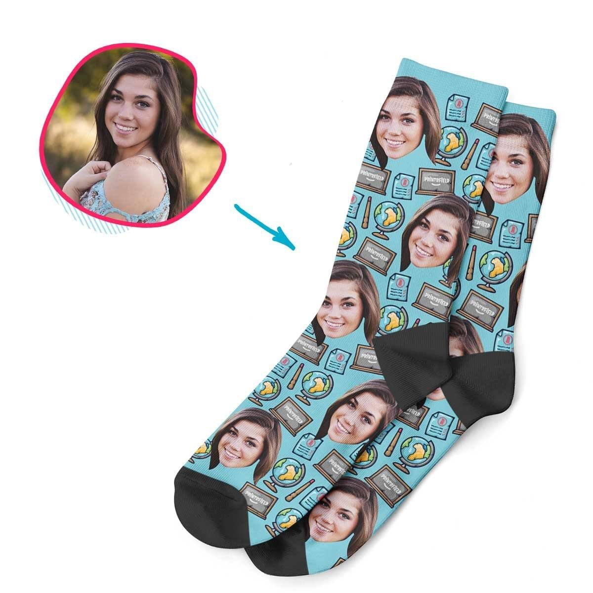 Blue Teacher personalized socks with photo of face printed on them