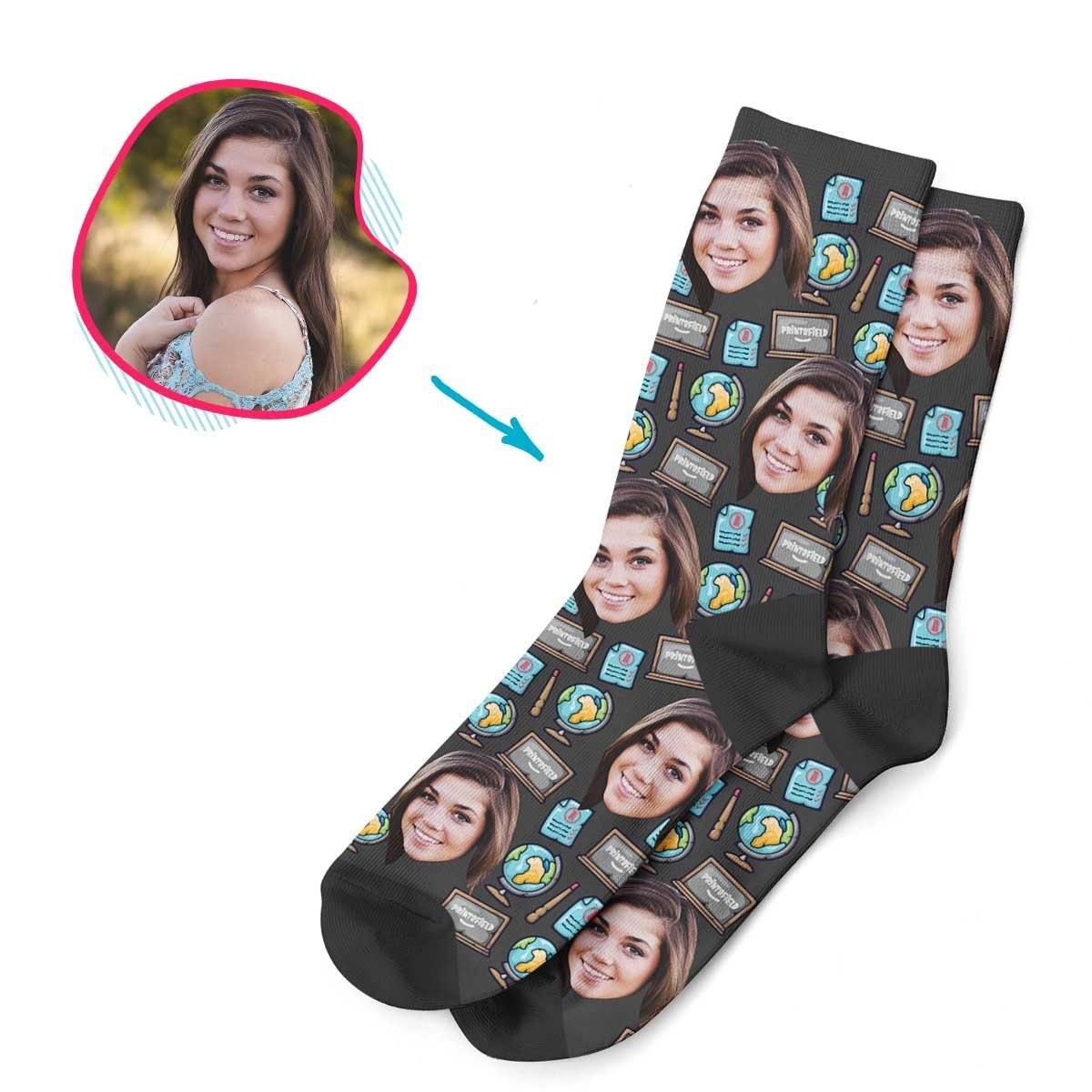 Dark Teacher personalized socks with photo of face printed on them