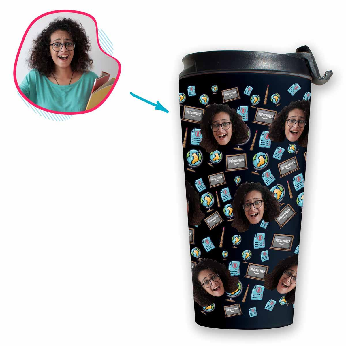 Dark Teacher personalized travel mug with photo of face printed on it