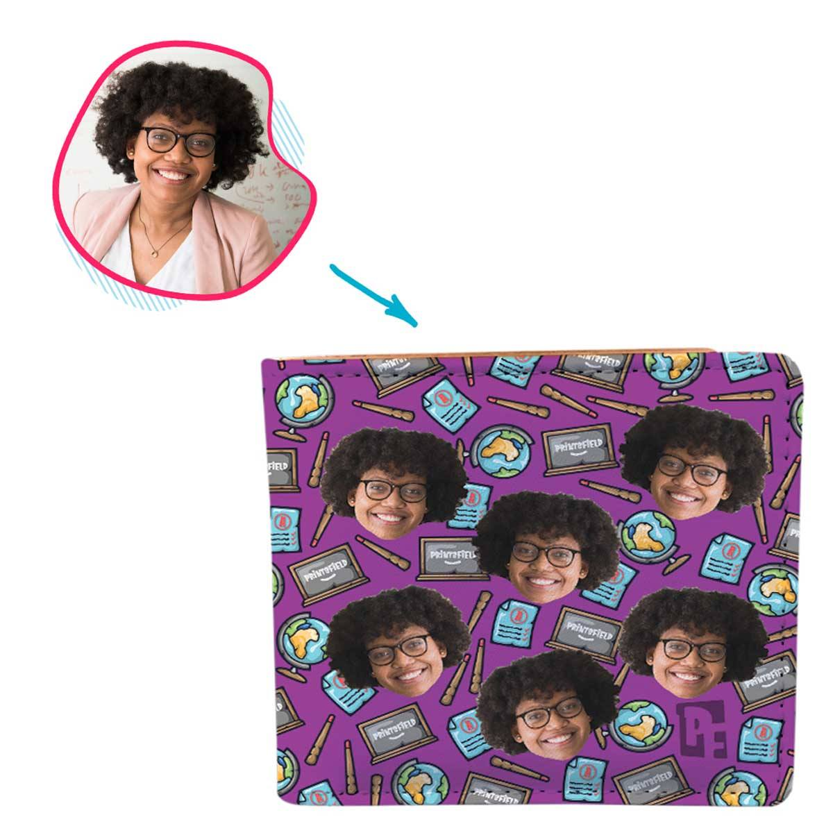 Purple Teacher personalized wallet with photo of face printed on it