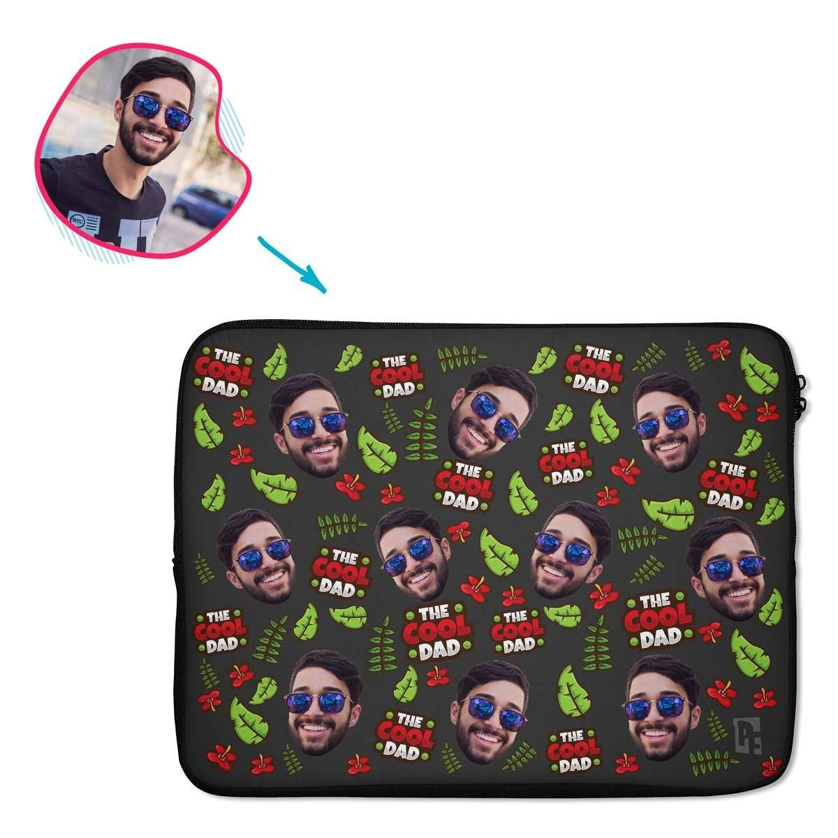 dark The Cool Dad laptop sleeve personalized with photo of face printed on them
