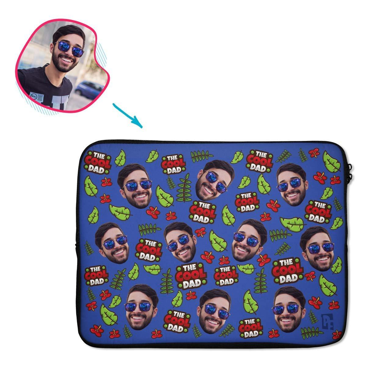 darkblue The Cool Dad laptop sleeve personalized with photo of face printed on them