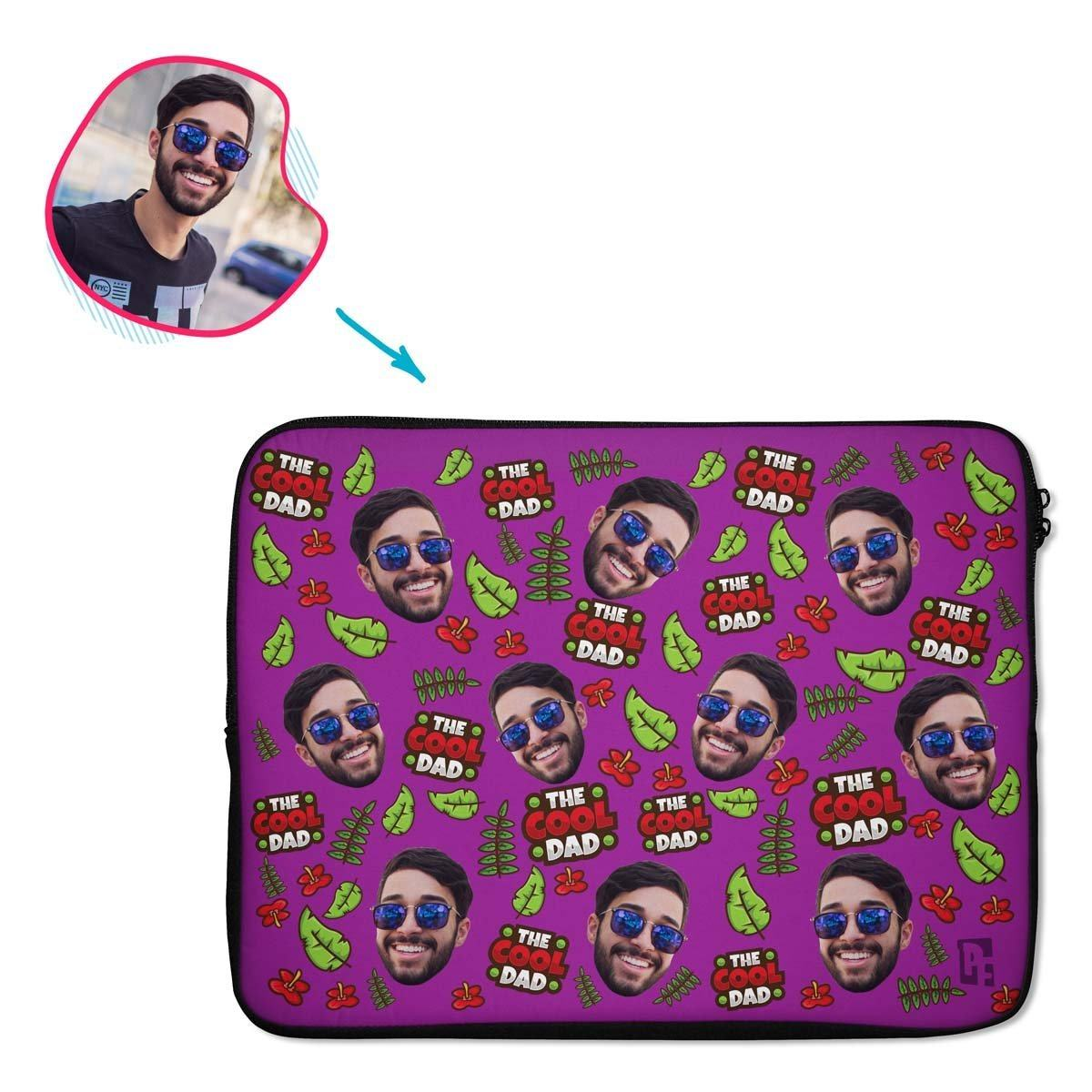 purple The Cool Dad laptop sleeve personalized with photo of face printed on them