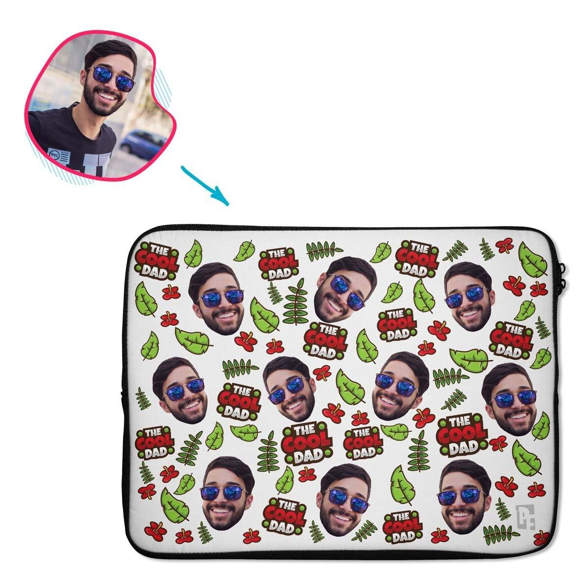 white The Cool Dad laptop sleeve personalized with photo of face printed on them