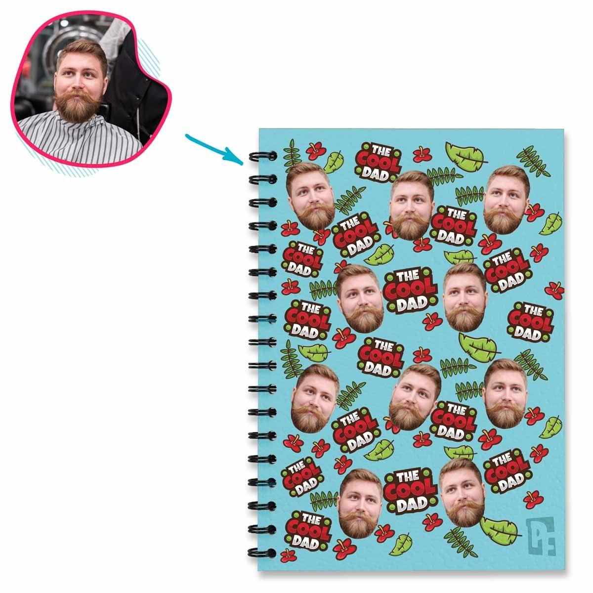 blue The Cool Dad Notebook personalized with photo of face printed on them