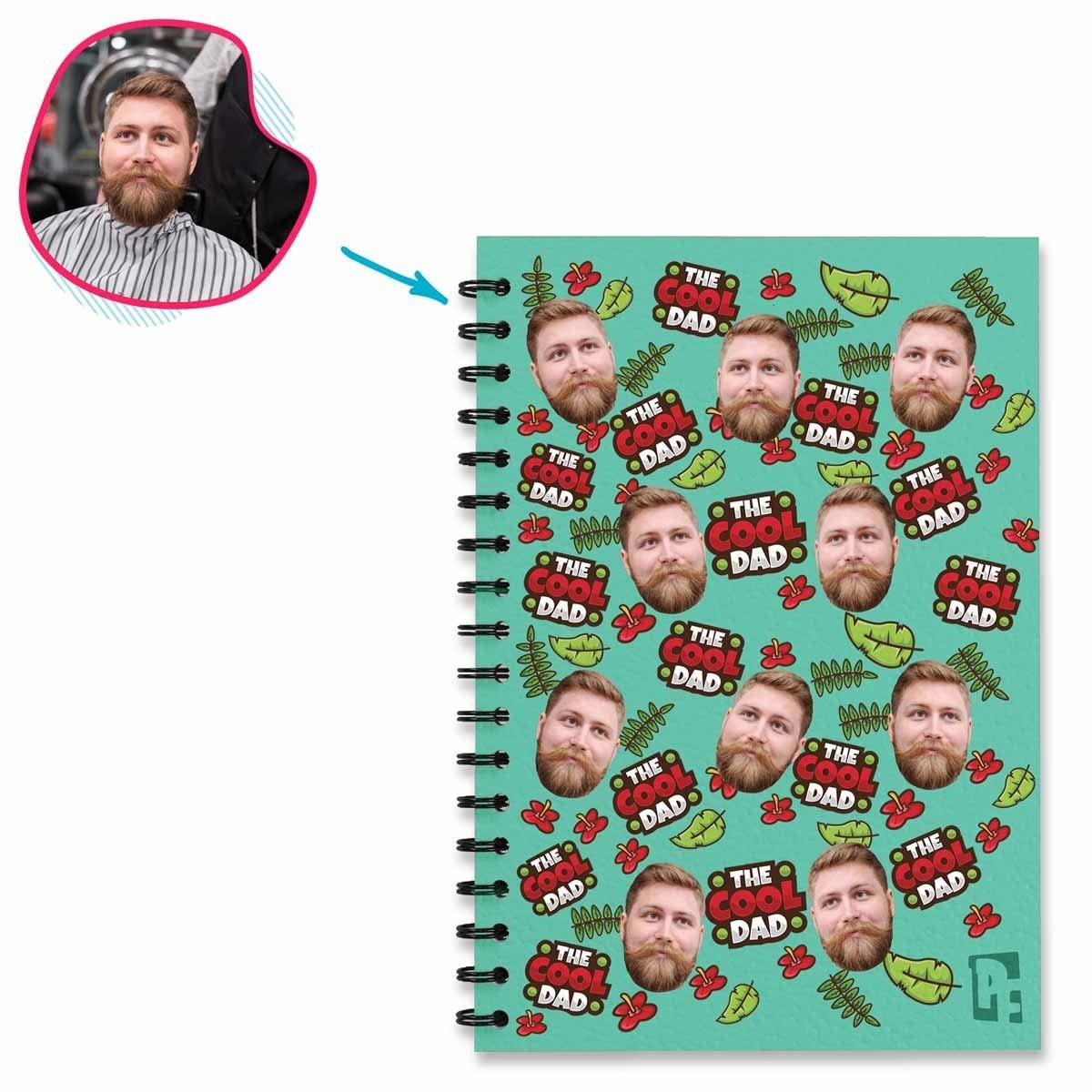 mint The Cool Dad Notebook personalized with photo of face printed on them