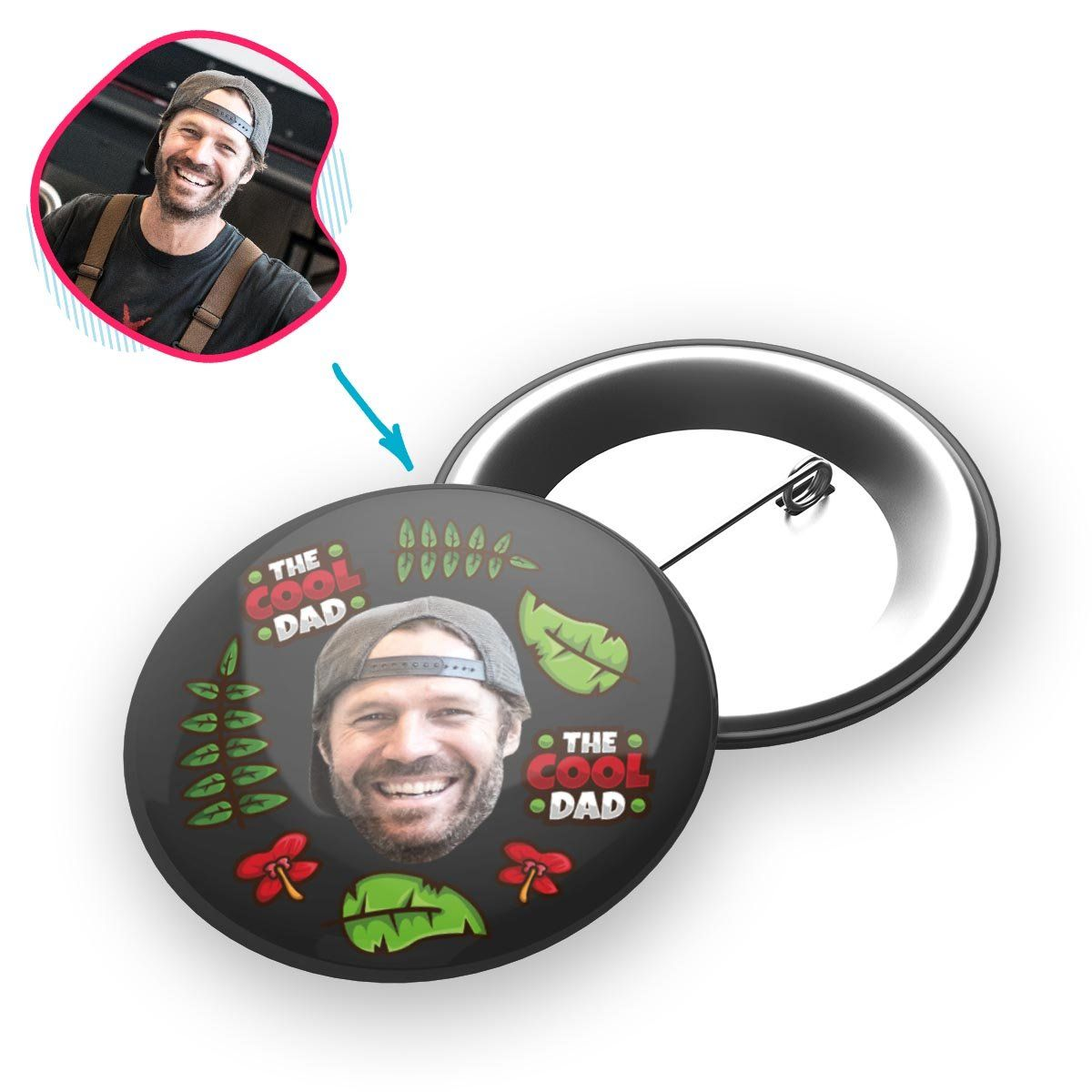 dark The Cool Dad pin personalized with photo of face printed on it