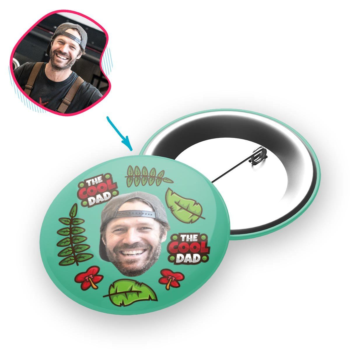 mint The Cool Dad pin personalized with photo of face printed on it