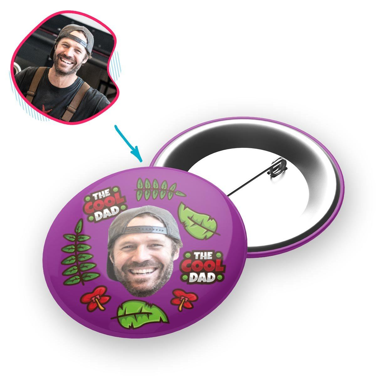 purple The Cool Dad pin personalized with photo of face printed on it
