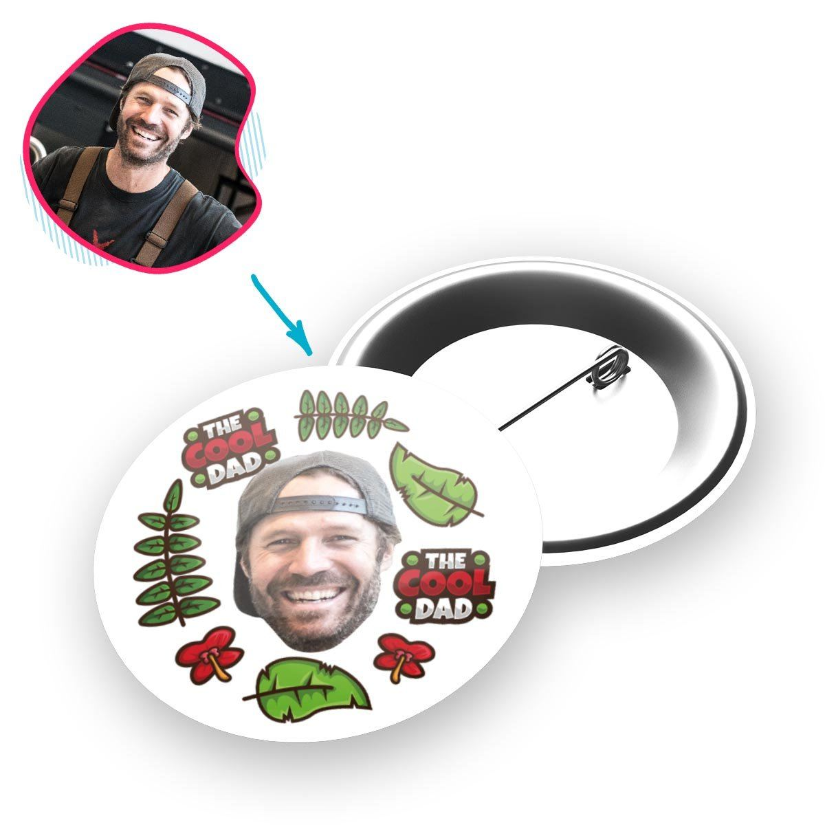 white The Cool Dad pin personalized with photo of face printed on it
