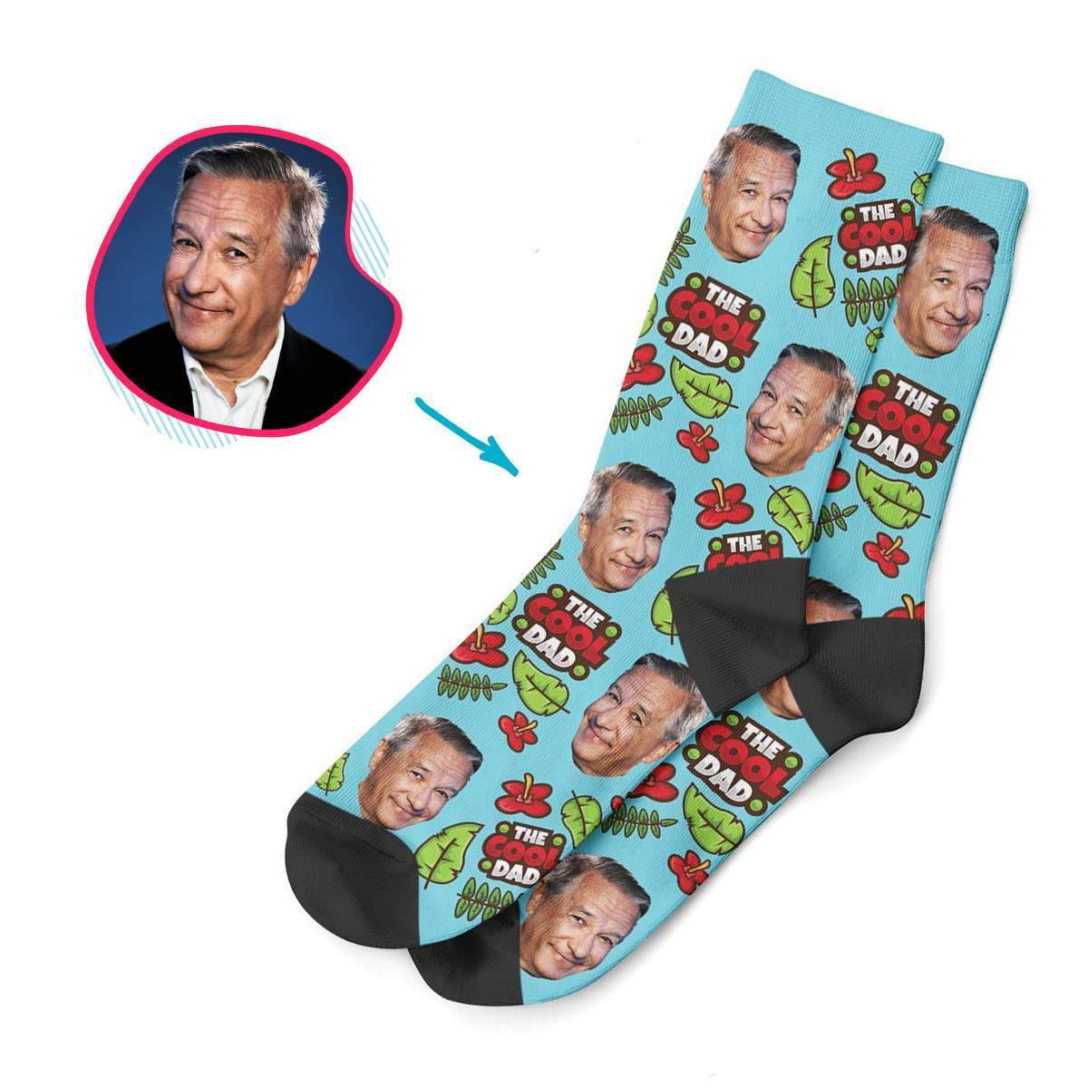 blue The Cool Dad socks personalized with photo of face printed on them