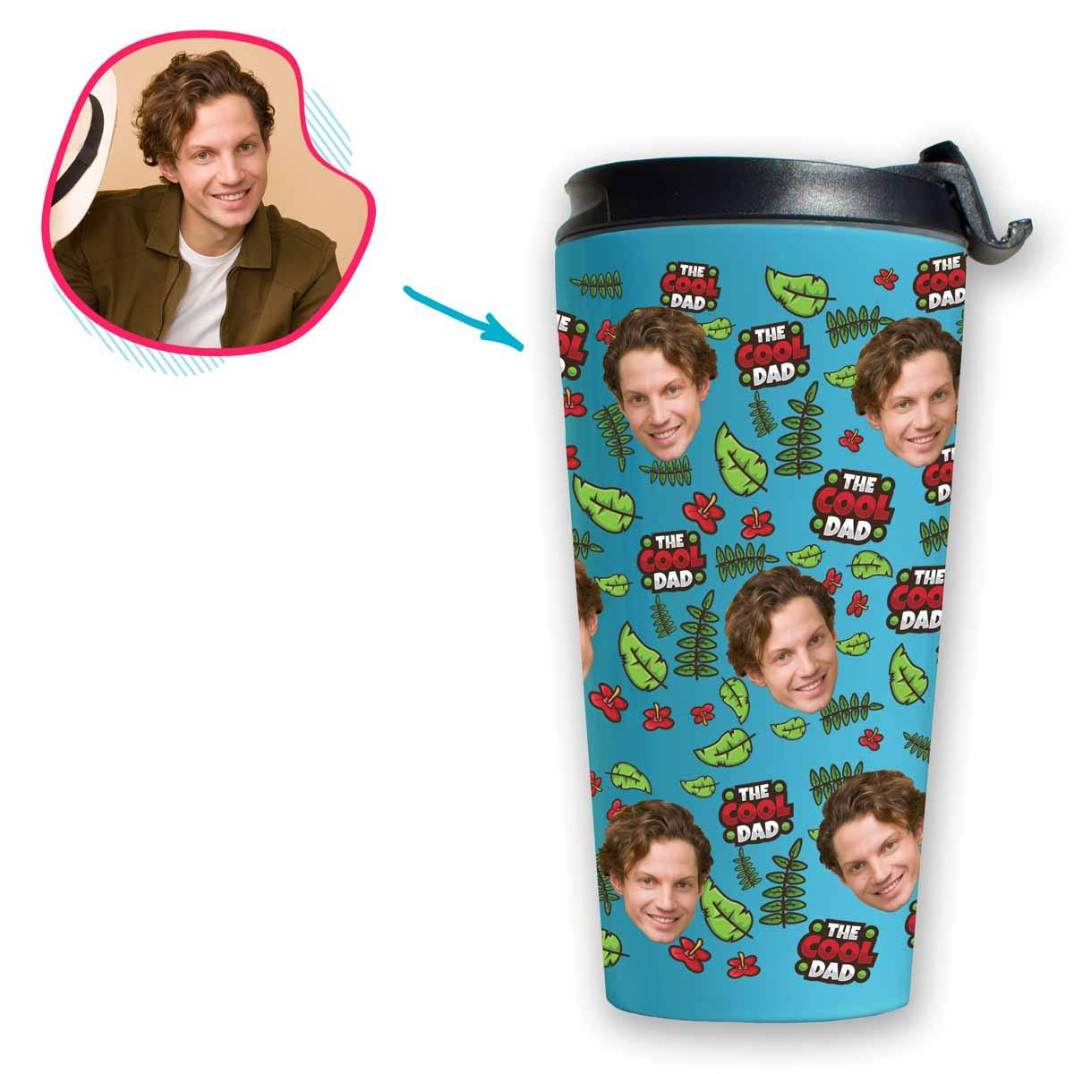 blue The Cool Dad travel mug personalized with photo of face printed on it