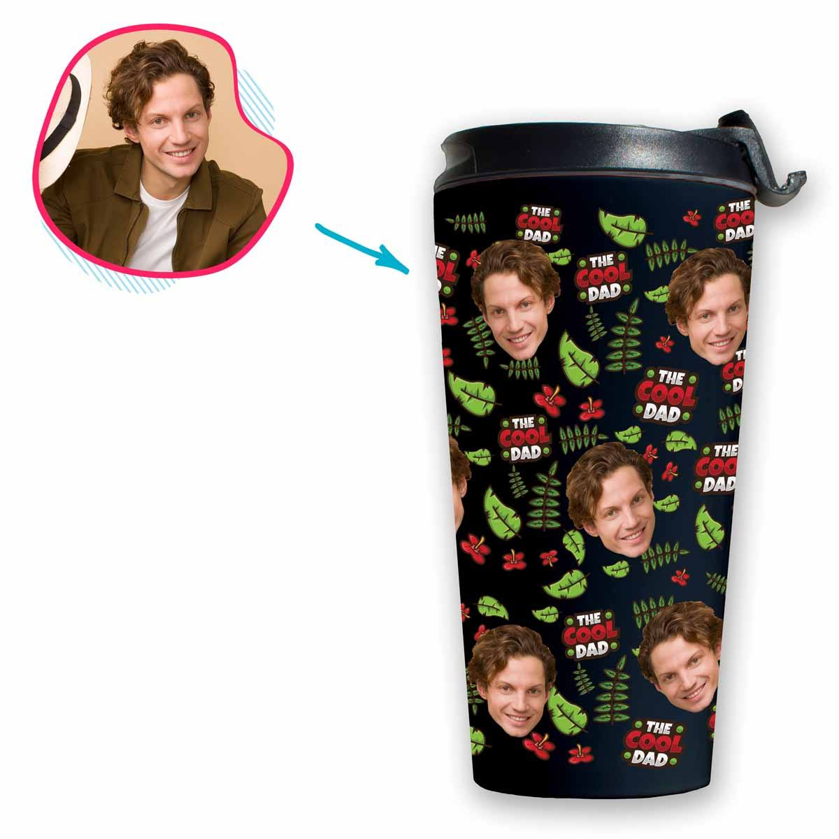 dark The Cool Dad travel mug personalized with photo of face printed on it