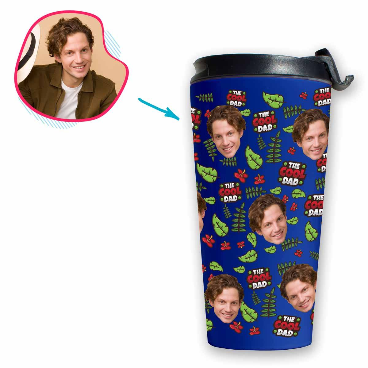 darkblue The Cool Dad travel mug personalized with photo of face printed on it
