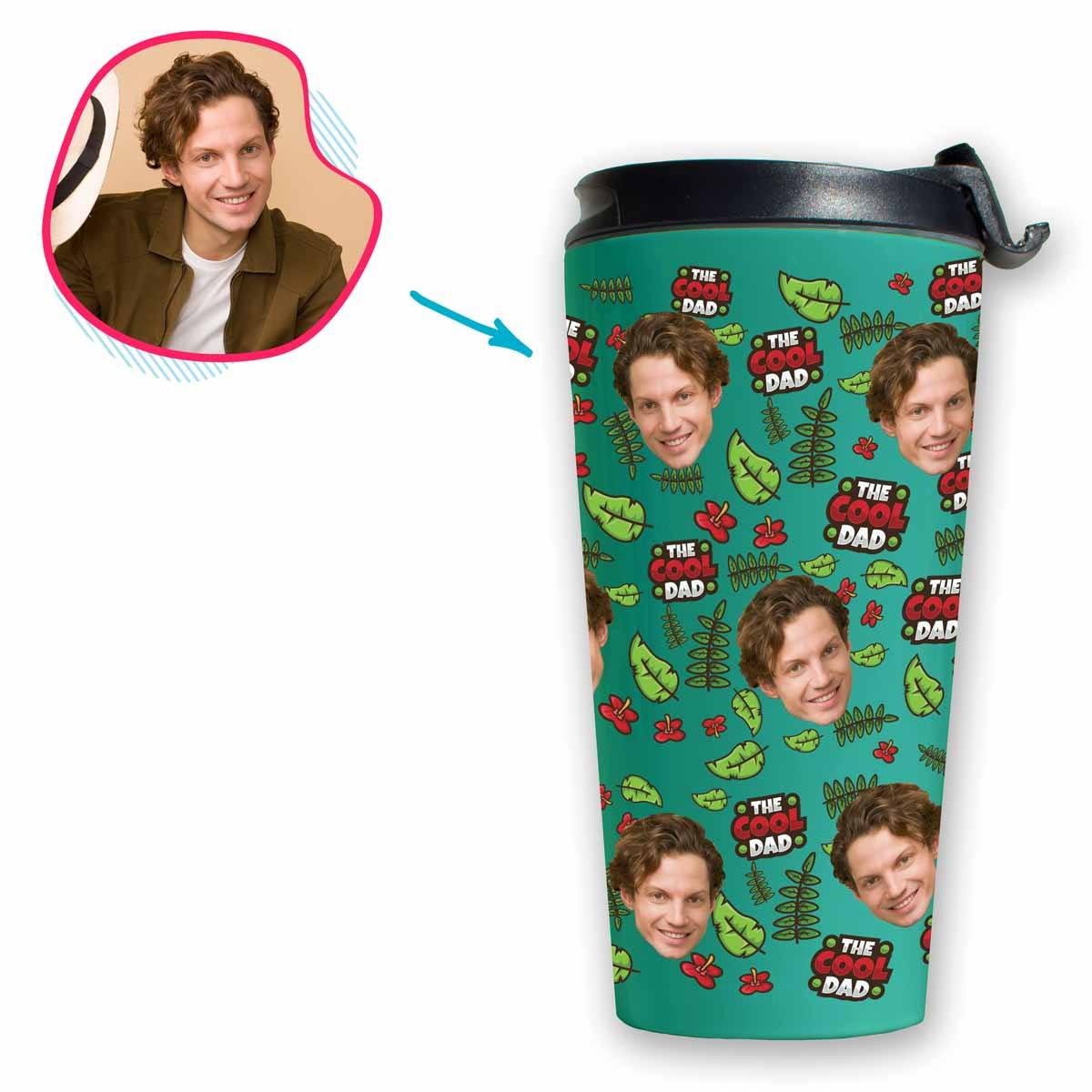 mint The Cool Dad travel mug personalized with photo of face printed on it