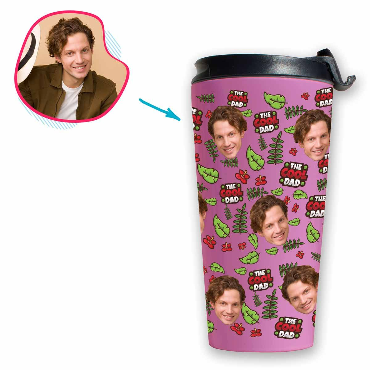 pink The Cool Dad travel mug personalized with photo of face printed on it