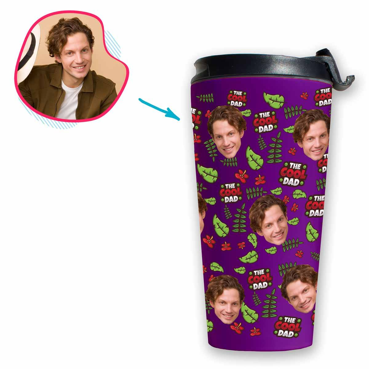 purple The Cool Dad travel mug personalized with photo of face printed on it