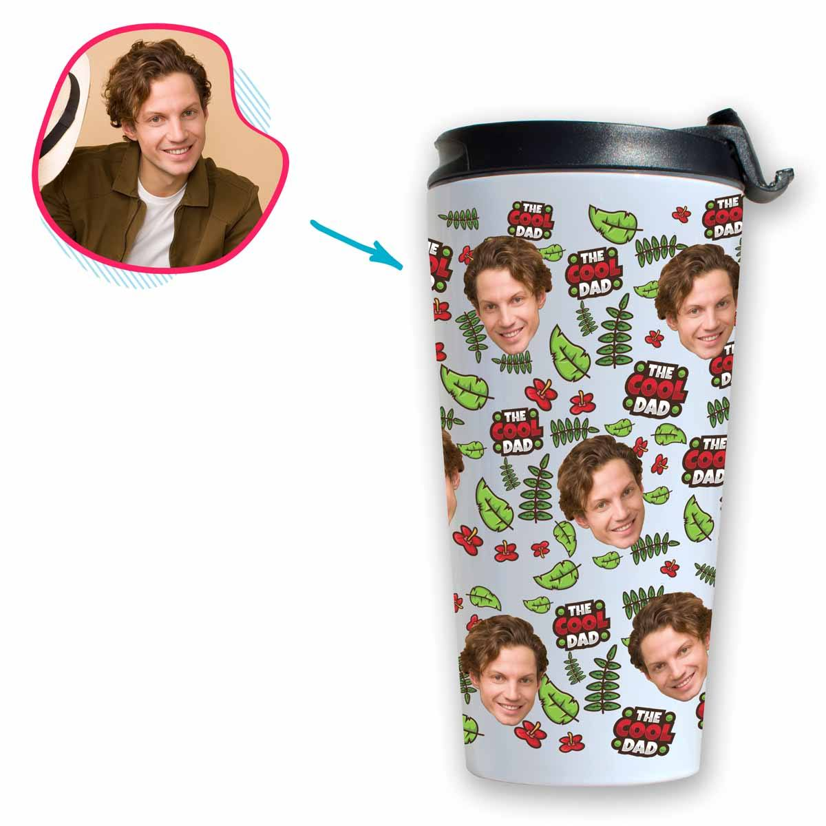 white The Cool Dad travel mug personalized with photo of face printed on it