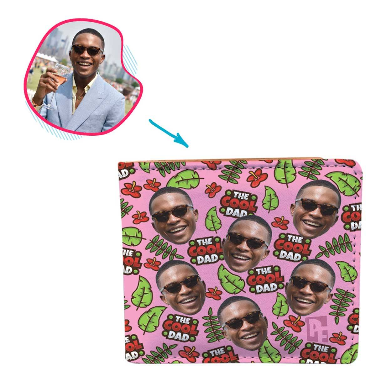 pink The Cool Dad wallet personalized with photo of face printed on it