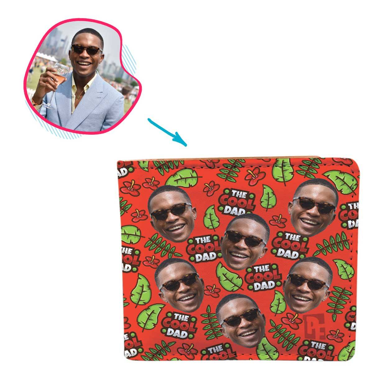 red The Cool Dad wallet personalized with photo of face printed on it
